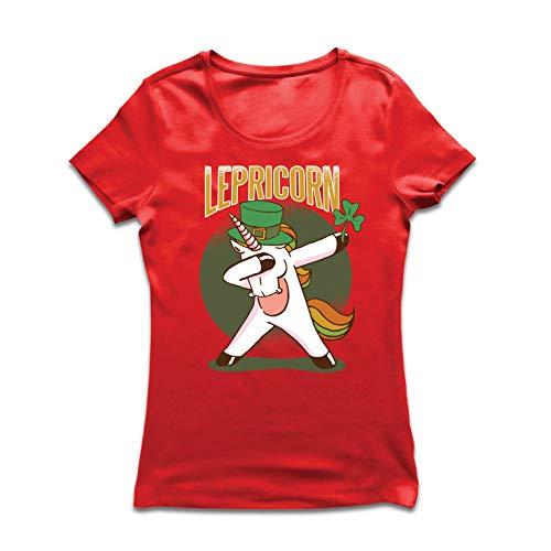 lepni.me Frauen T-Shirt Tupfender Kobold, irisches Einhorn, St Patrick Tagesentwurf (Large Rot Mehrfarben) -