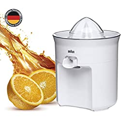 Braun CJ3050 - Exprimidor zumo de naranjas, 60 w, sistema antigoteo, tapa incluida, apto para lavavajillas, blanco