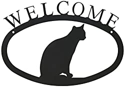 Village Wrought Iron 11 Inch Cat Sitting Small, Black, Welcome Sign
