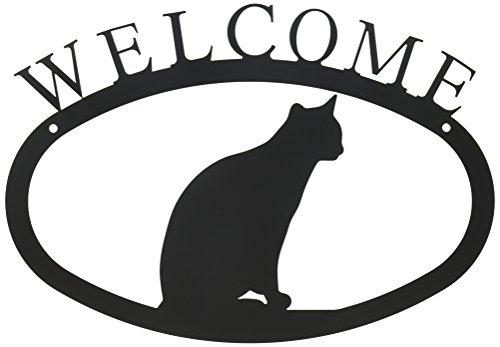 Schwarz Schmiedeeisen Patio-möbel (Village Schmiedeeisen 27,9cm Katze sitzend klein, schwarz, Welcome Schild)