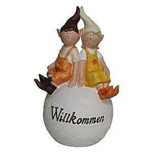 Boltze statuette lutin garçon et d'une fille assis sur une boule de jardin avec inscription en allemand willkommen