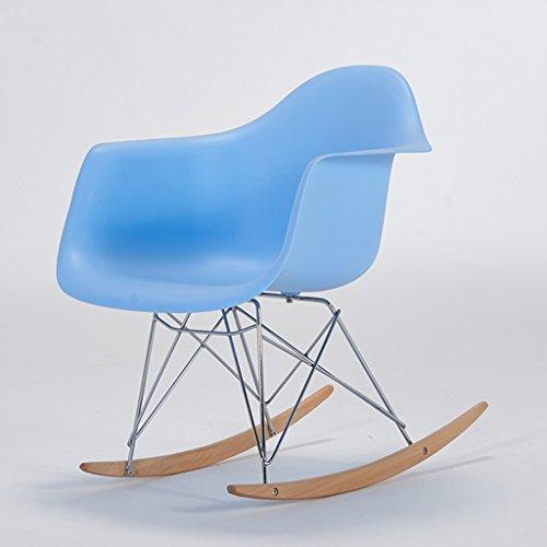 Chaise paresseuse Dossier Chaise à Bascule Mode Loisirs Chaise Balcon Chambre Chaise Longue pour Adultes Plastique + métal + Bois 61X68X71 cm LI Jing Shop (Couleur : Bleu)