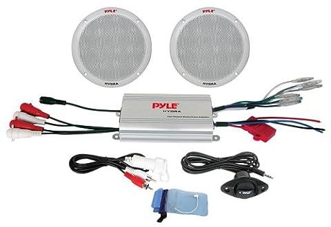 Pyle 2-Kanal-Wasserdichter MP3-/ iPod-Verstärkter 6,5-Zoll Marine-Lautsprecher-System