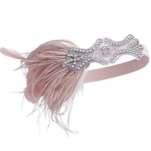 Flapper 1920er Pink Kostüm - Coucoland 1920s Feder Stirnband Damen 20er Jahre Flapper Haarband Gatsby Kostüm Fasching Karneval Accessoires (Nude Pink)