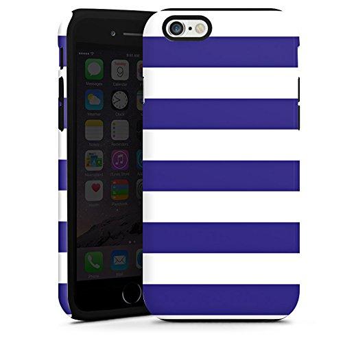 Apple iPhone 5s Housse Étui Protection Coque Marine Blanc bleu Bandes Cas Tough terne