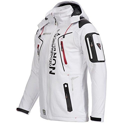 Geographical Norway TANGATA Herren Softshell Jacke Softshelljacke mit passender Thermowollmütze S-XXL Weiß