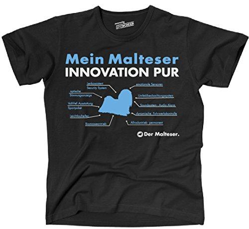 Siviwonder Unisex T-Shirt INNOVATION MALTESER TEILE LISTE Hunde lustig fun Schwarz