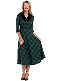 Voodoo Vixen Lola Tartan Robe Elégante Années 50 Longue Imprimé A Carreaux Et Col En Fausse Fourrure (Vert)