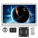 Digitaler Bilderrahmen 17 Zoll 1920x1080 HD IPS Display Elektronischer Bilderrahmen für Foto/Video/Wecker/Uhr/Kalender/Auto EIN/AUS Timer mit Bewegungssensor und Fernbedienung weiß