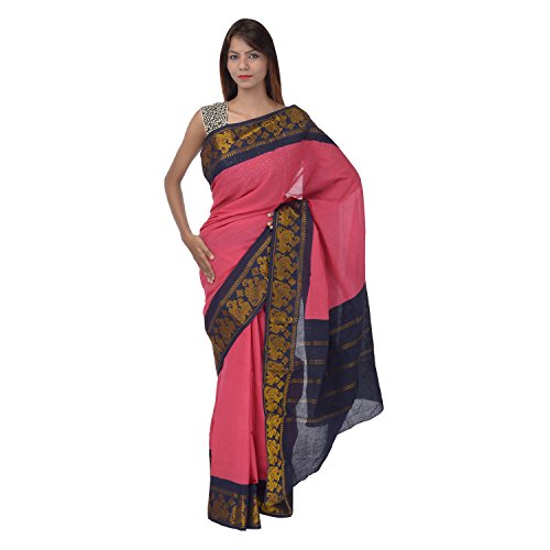Saundarya Sarees Women Cotton Golden Border Pink Saree