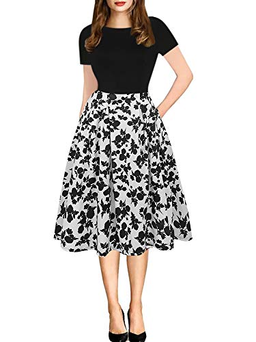 oxiuly Damen Vintage Patchwork Taschen Puffy Schwingen Beiläufiges Party-Kleid XXX-Large Schwarz-Weiss