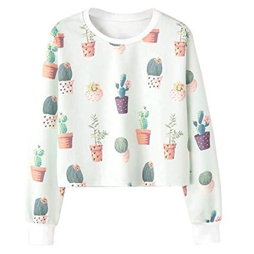 Teen Girls Kostüm - CICOCO Tolles Kostüm Für Jeden Tag Teen Girls Hoodies, niedliche Botanik Crop Sweatshirt Langarm Pront Hooded Pullover Tops (Farbe : Green, Größe : X-Large)