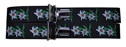 Trachtenhosenträger Hosenträger Edelweiss (Schwarz)