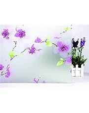 Elton 3D Window Films Privacy Film Self Adhesive Decorative Film for Bathroom Door Window Heat Control Anti UV 16 x 48 inches (Lilac Flower)