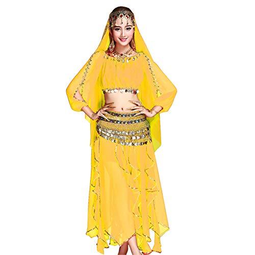 (Fuyingda Performance Tanzkostüm Frauenanzug Bauchtanz Erwachsene Chiffon langärmeligen Rock Klassische indische Kleidung Anzug Tanzkostüm)