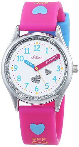 s.Oliver Mädchen Analog Quarz Uhr mit Silikon Armband SO-3501-PQ