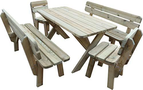 Platan Room Gartenmöbel aus Kiefernholz 120 cm / 150 cm / 180 cm breit Gartenbank Gartentisch Kiefer Holz massiv Imprägniert (Set 2 (Tisch + 2 Bänke + 2 Stühle), 180 cm)