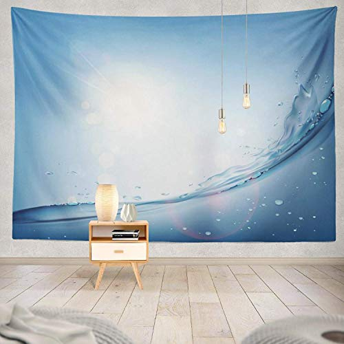 Gthytjhv arazzi decor collection, waves water surface natural blue sky with sunlight stock water wave bedroom living room dorm wall hanging tapestry polyester & polyester blend