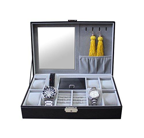 Todeco-Caja-de-Relojes-de-Joyera-Caja-de-Exhibicin-para-Joyero-de-Relojes-Tamao-30-x-20-x-8-cm-Material-de-la-caja-MDF-8-relojes-joyas-y-espejo-Gris