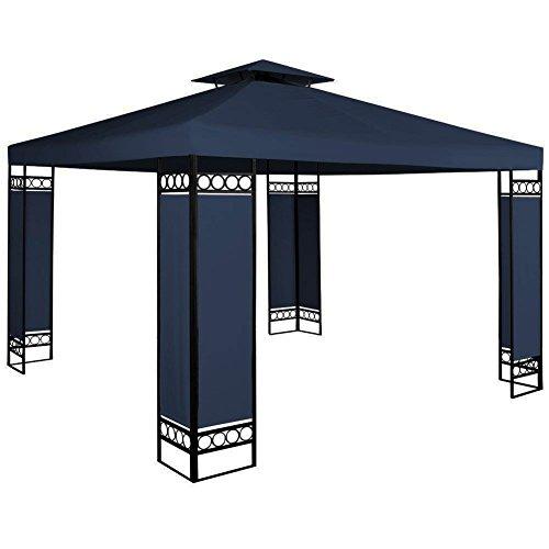 Bakaji gazebo da giardino 3x3 mt struttura in acciaio inox con separè paravento in tessuto antivento colore blu arredo giardino terrazzo ambienti esterni