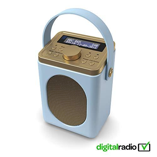 Little Shelford DAB/DAB+ Digital & FM Radio, Portable Wireless, Bluetooth, with Stereo Sound, Dual Alarm Clock/Leather Effect Finish/Mains Powered (Duck Egg Blue)