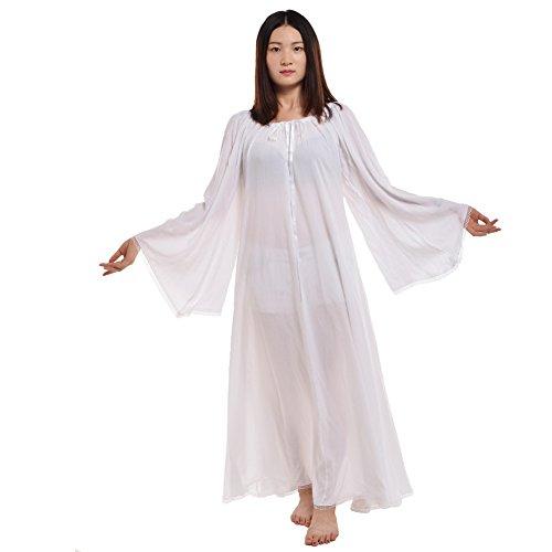 BLESSUME Damen Mittelalterlich Renaissance Kleid Kleid (Weiß, M)