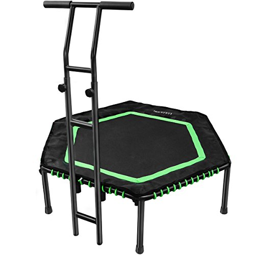 Homemaxs Indoor Trampolin mit Doppelgriff für Erwachsene & Kinder, Fitness Trampolin (Ø122cm), Einfach zu Installieren Sport Trampolin, Gummiseil-System Sicher mit Randabdeckung-Bs120kg