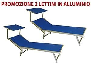 2 pezzi lettino brandina blu da mare in alluminio per stabilimento piscina spiaggia - Lettino piscina alluminio ...