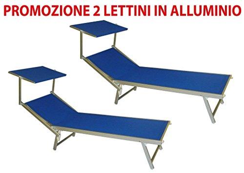2 pezzi Lettino brandina blu da mare in alluminio per stabilimento piscina spiaggia