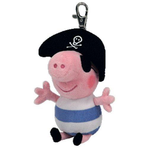 TY Beanie Peppa Pig–Llavero, diseño de pirata George keyclip
