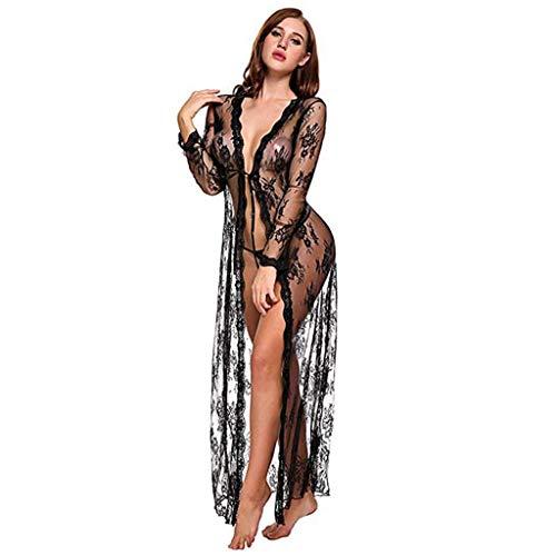 Lenfesh Lingerie pour Femme Robe Longue en Dentelle Sexy Robe Transparente Voir à Travers Une Robe Kimono, Noir, XL
