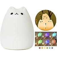 Itian Luce notturna a LED per i bambini, a forma di gattino, Multicolore Lampada molle in silicone, sensibile Tap Control, Warm White & 7-Color di Respirazione Duplice Modalità Luce (Celebrity Gatto)