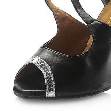 XIAMUO Anpassbare Damen Tanzschuhe Latein Kunstleder angepasste Ferse schwarz Schwarz