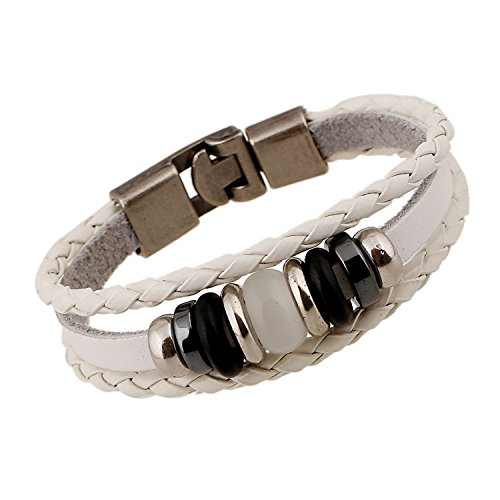 SNHWARE Bracelet Kreis Leder Armband Armband Unisex Multi Strands Armbänder Stammes Geflochtene Seil Perlen,White