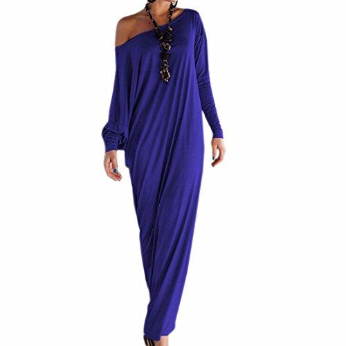QIYUN.Z La Mode a Manches Longues Solide Couleur Femmes Maxi Robe Longue Robe Partie Magie Bleu