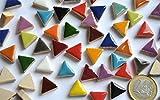 Bazare Masud e.K. 50g Keramik Mosaiksteine dreieckig Seitenlänge ca. 14 mm bunt, ca. 50 Stück