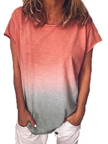 Jeans Damen Shirts (Yutila Damen Kurzarm T-Shirt Beiläufig Farbverlauf Shirt Sommer Lose Shirt Tees)