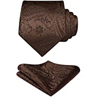 HISDERN Solid Paisley Tie for Men Handkerchief Woven Classic Flroal Men's Necktie & Pocket Square Set Wedding…
