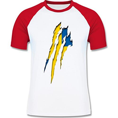 Länder - Schweden Krallenspuren - zweifarbiges Baseballshirt für Männer Weiß/Rot