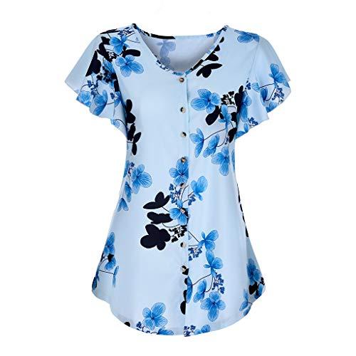 RIVERY Bluse,Damenmode Wilder Rundhals-Blumendruck Kurzarm süßes süßes Wind-T-Shirt lässig (Kleidung Junior Bluse)