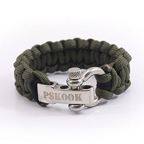 PSKOOK Paracord Elastisches Armband mit Edelstahl D Schäkel Bungee Cord Survival Armband Outdoor Notfall Armband-2 Pack (Armeegrün)