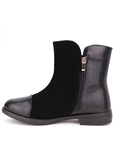 Cendriyon, Bottine bi matière vernie HULLS Chaussures Femme Noir