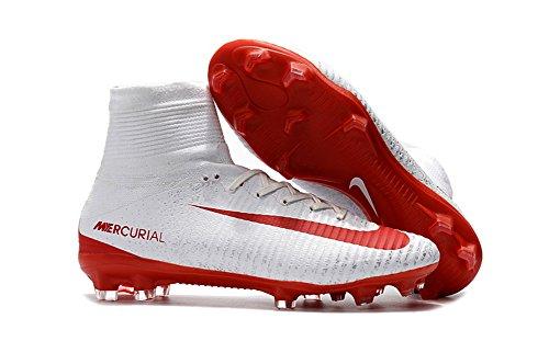 lowm Football Herren Mercurial superfly V FG Fußball Stiefel Schuhe, Herren, weiß, EUR43=UK8.5 Jordans Größe 13 Weiss