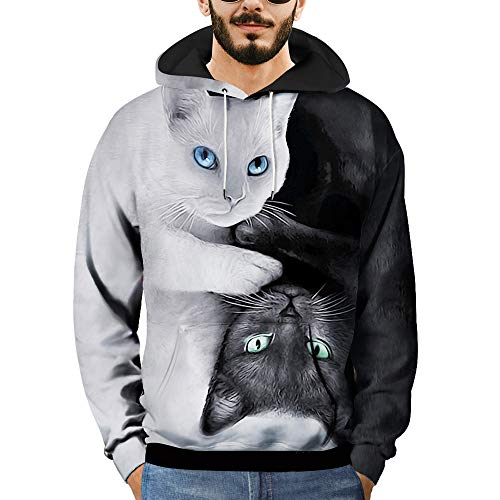 DEELIN Sweatshirt Herren 3D Printed Cat Pullover Langarm mit Kapuze Sweatshirt Tops Bluse