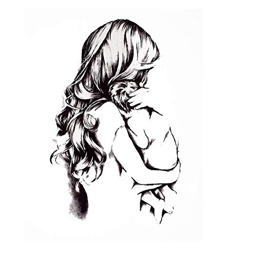 JUSTFOX - Temporäres Tattoo Mutter mit Kind Liebe Design Temporary Klebetattoo Körperkunst