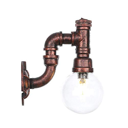 Industrial Retro Vintage Style Single Light Wire Glass Water Pipe Wall Sconce Wall Light Lamp Lantern in Iron Rust Finish Use LED Bulb,Transparent -