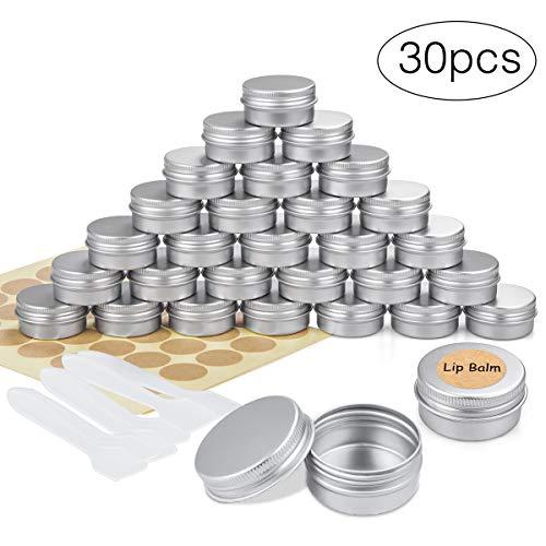 30 Stück Aluminium Leer Döschen Rund Reise Cremedose Tiegel für Creme Lotion Masken Kosmetik Nagelkunst(20ml)