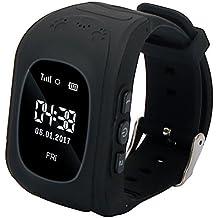 Niños Reloj Inteligente GPS Rastreador Localizador anti-lost Seguridad Niños Reloj de Pulsera SOS Llamadas SIM Podómetro Smartwatch Compatible con iPhone y Android Smartphone Q50 (Negro)