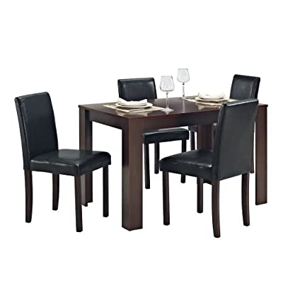 Dining Table and 4 Chairs with Faux Leather Dark Walnut Furniture Room Set