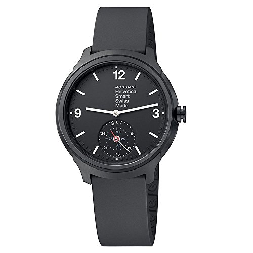 Mondaine Men's Quartz Smart Watch with Black Dial Analogue Display and Black Silicone Strap MH1.B2S20.RB